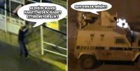 Polisle gösterici arasında ilginç diyalog