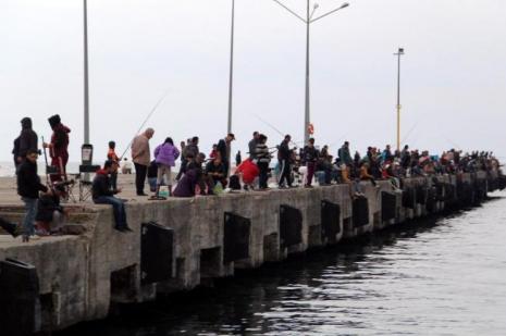 Amatör balıkçılar iskelede yer kapma yarışına girdi