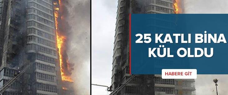 25 katlı bina alev alev yandı
